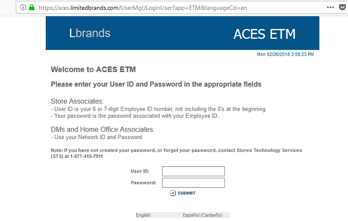 ACES ETM Login L brands Aces ETM is an employee login portal, which can be operated from anywhere in the world. It is a handy tool for the employee to stay connected with management, associates and latest updates of the company.